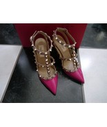 NIB 100% AUTH Valentino rockstuds patent leather sling back pumps 35 $995 - $772.20