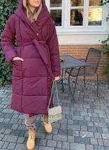 Women's New High Street Solid Hooded Full Length Quilted Parka Coat image 4
