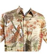 Cooke Street Palme Spiaggia Stabilizzatori Arancione Giallo L Camicia Ha... - $36.37