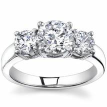 2.00CT Forever One Moissanite 4 Prong 3-Stone Ring 18K White Gold  - $1,237.54