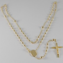 18K YELLOW GOLD ROSARY NECKLACE MIRACULOUS MARY MEDAL & JESUS CROSS ITALY MADE image 1