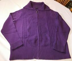 Bay Studio Plus Women's Ladies Long Sleeve Zip Up Sweater Blackberry CRD... - $42.02