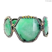 4.26 Ct Diamond Pave Sterling Silver Gemstone EMERALD Link Bracelet Gold... - $2,125.48