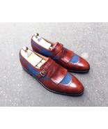 Premium Leather Blue Maroon Two Tone Apron Toe Men Handmade Men Monk Shoes - $139.90+