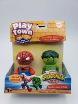 Play Town Marvel Spider-man & Friends & Hulk Real Wood Figure Play System 2007 - $19.79
