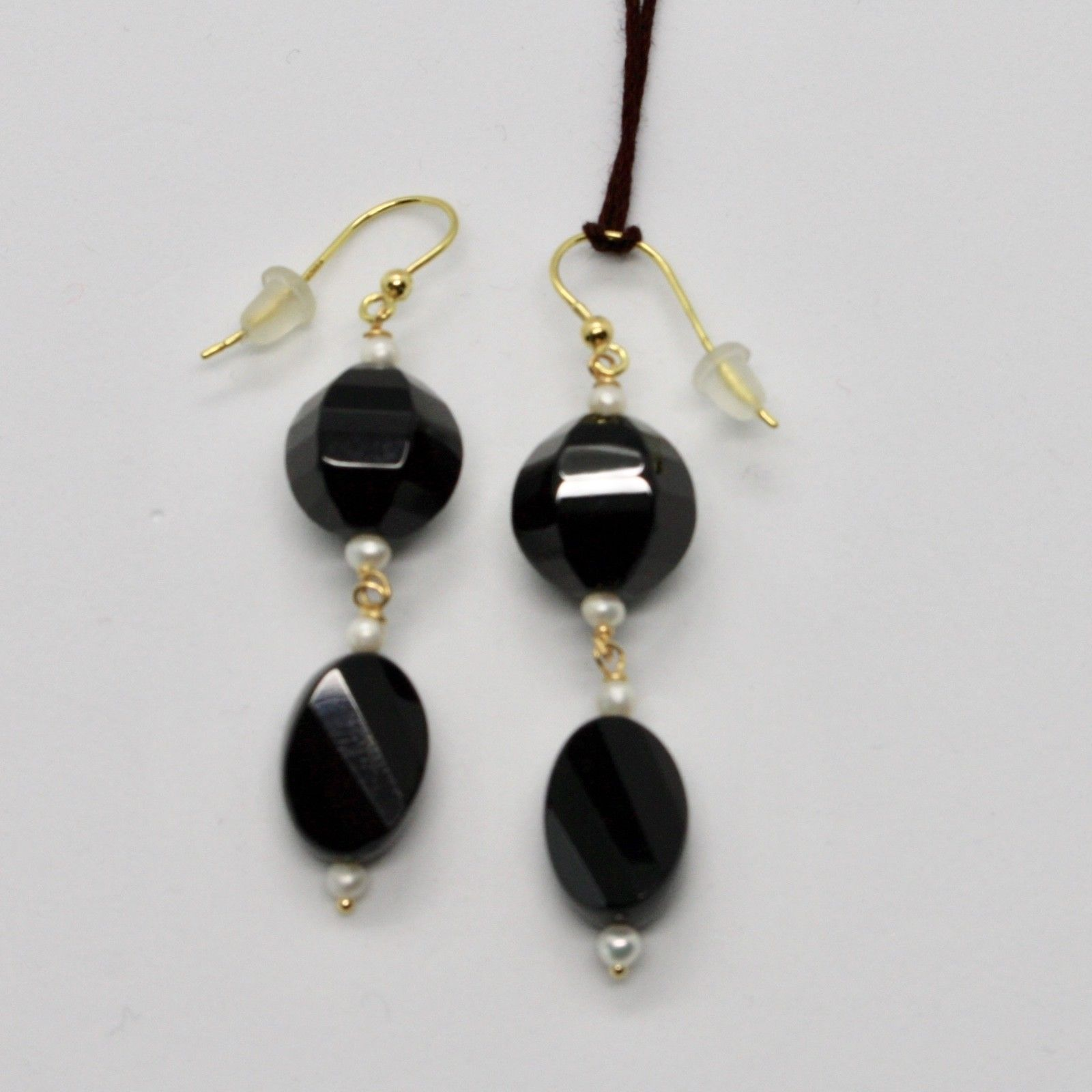 YELLOW GOLD EARRINGS 18KT 750 ONYX BLACK NATURAL MINI PEARLS OF WATER DOLCE
