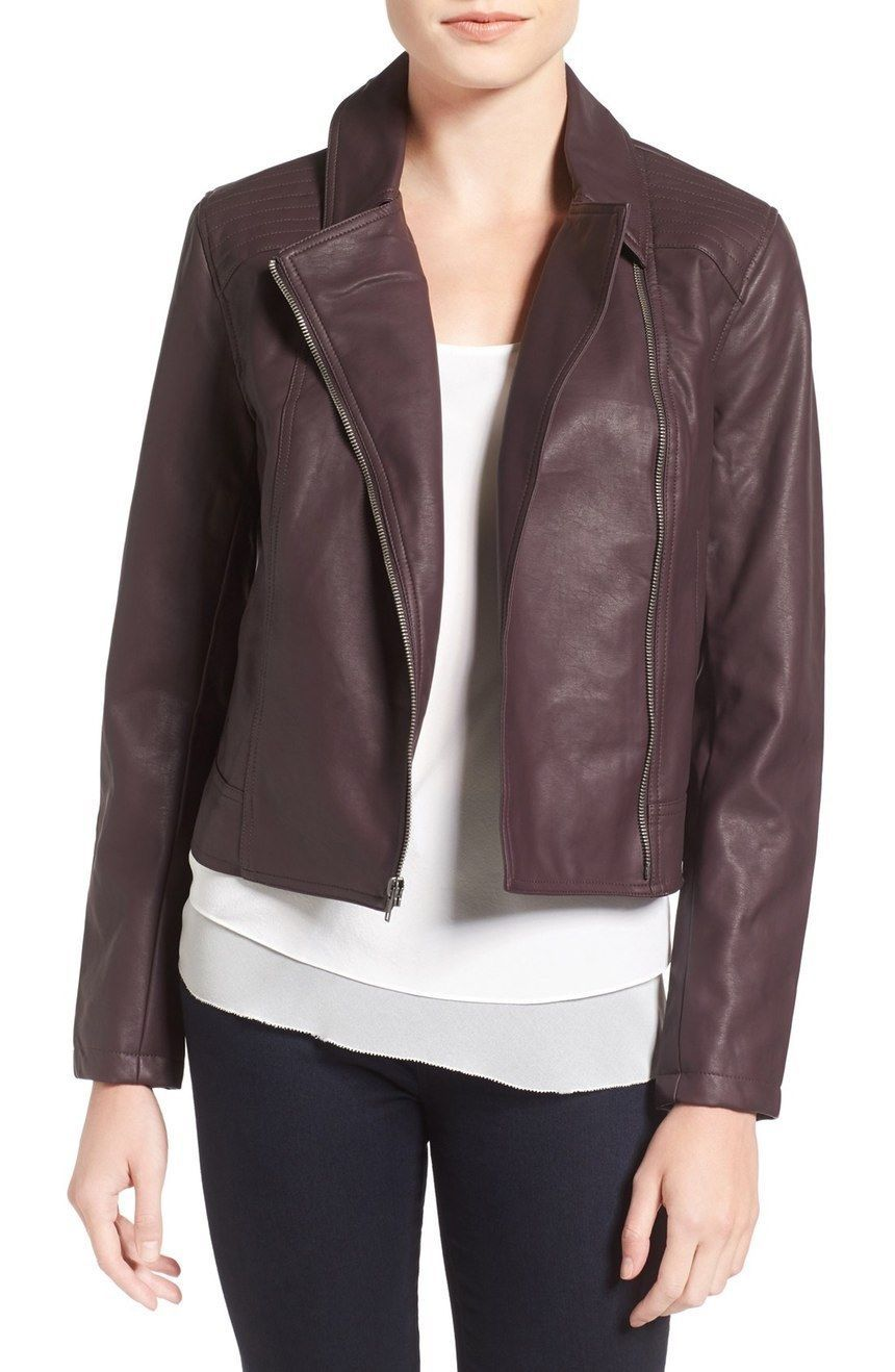 WOMEN BIKER MOTORCYCLE CASUAL SLIM FIT RIDER REAL GENUINE  LEATHER JACKET-A93