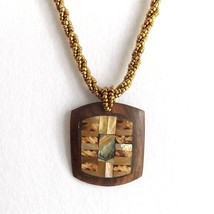 DARK WOOD AND ABALONE SHELL RECTANGULAR SQUARE PENDANT NECKLACE, GOLD CO... - $15.13