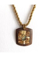 DARK WOOD AND ABALONE SHELL RECTANGULAR SQUARE PENDANT NECKLACE, GOLD COLOR ROPE - $15.13