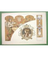 ART NOUVEAU Dekorative Vorbilder Print  - COLOR Allegory Goldsmith Jewelry - $24.98