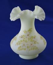 """Fenton Daisies on Custard #7252 Vase 7"""" Signed Blowers 1975-1981 - $19.80"""