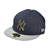 New Era New York Yankees Metal Logo 59Fifty Men's Fitted Hat Cap Navy Blue-Grey - £32.07 GBP