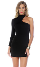 Forplay Sophisticate One Sleeve Mock Neck Mini Dress ~ Black, Red or White - $22.99