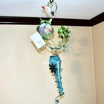 Painted Metal Owl & Blue Glass Bottle Garden Hanging Hummingbird Nectar Feeder image 5