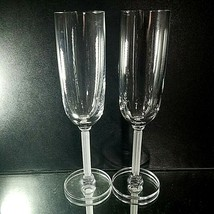 2 (Two) VINTAGE MIKASA HORIZON Frosted Stem Lead Crystal Champagne Flutes image 2