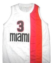 Dwyane Wade #3 Miami Floridians Custom Basketball Jersey Sewn White Any Size image 4