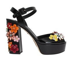 Dolce & Gabbana Women Black Leather Crystal Sandals EU39/US8-5 - €576,41 EUR