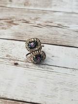 Vintage Screw On Earrings Clear Stones with Enamel Flower Center - $12.99