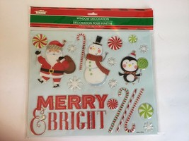 New Christmas House Window Decor 9.75 x 11.5 Santa Merry Bright Candy Cane - $6.79