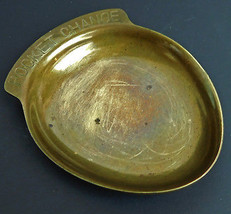 "Vintage Made in Taiwan Brass Metal Pocket Change Dish 4"" L - $7.87"