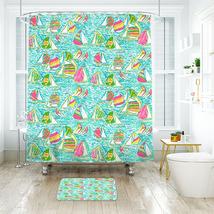 Flower Lilly You gotta regatta Shower Curtain Waterproof & Bath Mat For Bathroo - $15.30+