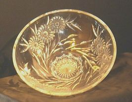 Crystal Floral Serving Bowl Heavy Beautiful Large AA19-LD11935 Vintage image 6