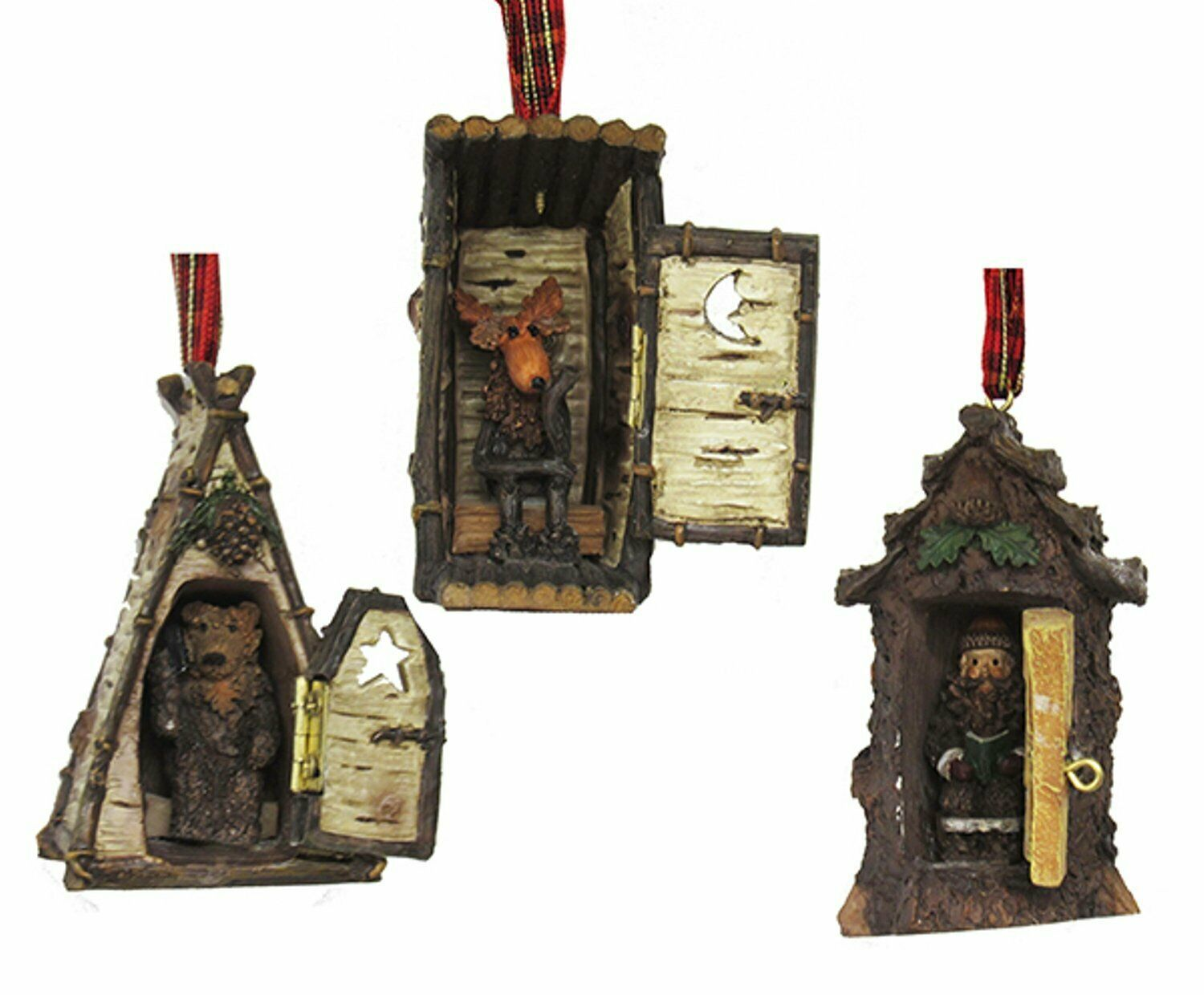 Primary image for KURT ADLER SET OF 3 HINGED RUSTIC WOODLAND COTTAGE OUTHOUSES XMAS ORNAMENTS