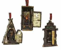 KURT ADLER SET OF 3 HINGED RUSTIC WOODLAND COTTAGE OUTHOUSES XMAS ORNAMENTS - $29.88