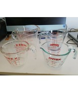 "PYREX MEASURING GLASS CUPS with Handle  ""2-1 Cup"" ""2 Cups"" ""4 Cups""-lot Of 4 - $42.56"