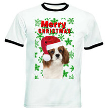 Cavalier Charles Spaniel snowflakes merry christmas P2 - RINGER COTTON T... - $19.53