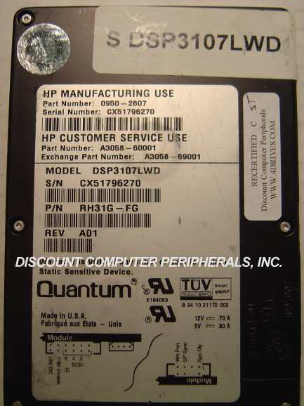 1.07GB 3.5IN 3H SCSI WIDE DIFF 68 PIN 5062-9462 C3660-60275 DEC DSP3107LWD Free