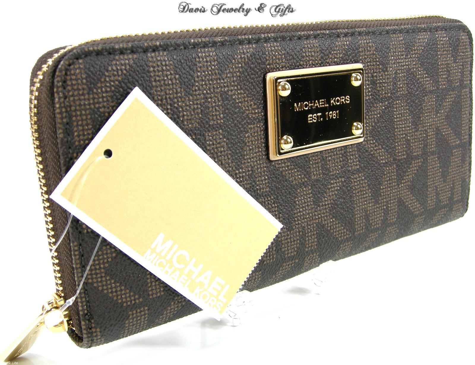 67abfc2addfaa S l1600. S l1600. Previous. Michael Kors MK Logo Wallet Purse Hand Bag  Genuine Brown Leather Jet Set NWT