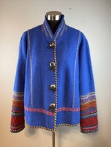 Coldwater Creek Jacket XL Blue 100% Wool Aztec Cuffs Western Concho Buttons - $37.12