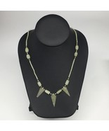 "13.2g,2mm-28mm, Small Green Nephrite Jade Arrowhead Beaded Necklace,19"",... - $4.75"