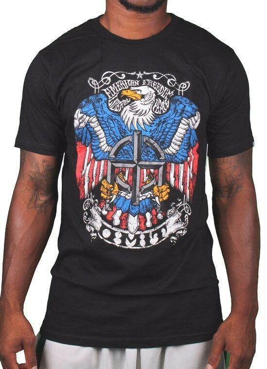 Omit Mens Black American Freedom Stone Eagle Crest T-Shirt NWT
