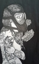 Gothic Pen and Ink Drawing Nude, Post Apocalyptic J Crow Smith Art  - $10.00