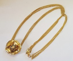 Lenox Sterling Silver Gold Vermeil 6 Strand Necklace with Flower - $38.00