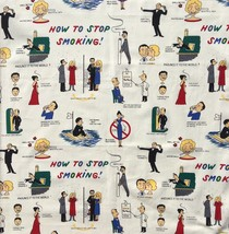 Michael Miller How To Stop Smoking Cotton Novelty Fabric Retro Advice 1.... - $14.46