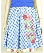 Matilda Jane skirt SZ S Dutch Apple blue white ghigimgcheck embroidery l... - $19.79