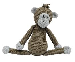Beige-Green Funny Monkey Handmade Amigurumi Stuffed Toy Knit Crochet Dol... - $21.78