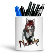 Personalised Any Text Name Ceramic Wolf Pencil Pot Gift Idea Kids Adults 09 - $12.89
