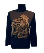 St John Collection Knit Tiger Sweater Animal Print  Small  BLACK    A - $60.14