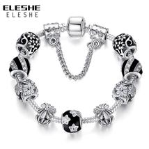 Authentic 925 Enamel Silver Crystal Beads Charms Bracelet For Women With... - $6.99+