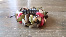 Vintage Green and Pink Mother of Pearl Stretch Bracelet - $19.79