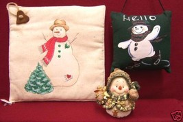 LOT OF 3  CUTE  SNOWMAN  HOLIDAY HOME DECOR  PILLOW - $8.90