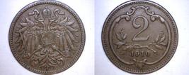1910 Austrian 2 Heller World Coin - Austria - $9.99