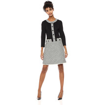 Anne Klein Long Sleeve Tweed Fit Dress, Bolshoi Grey/Degas Grey Combo, 16 - $98.99
