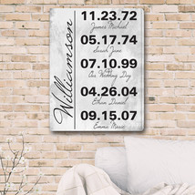 Personalized Memorable Dates in Life Canvas Print - $54.95