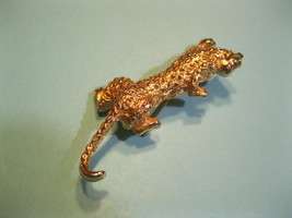 LEOPARD Big Cat in Gold-Tone Brooch Pin - 3 inches - FREE SHIPPING - £19.29 GBP
