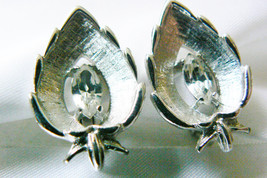 Vintage Sarah Coventry Cov Silver Tone Marquis Crystal Leaf Clip On Earrings - $16.63